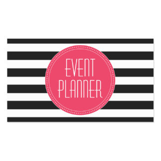 Event Planner Black and White Stripe Business Card