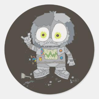 EVIL ROBO APE ROUND STICKER