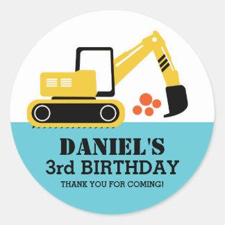 Excavator Kids Builder Birthday Party Stickers