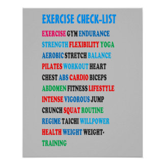 EXERCISE CHECK-LIST GYM Weight Health Heart nvn609 Poster