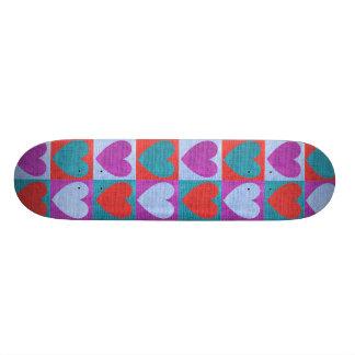 fabric heart love valentine pattern rustic burlap custom skateboard