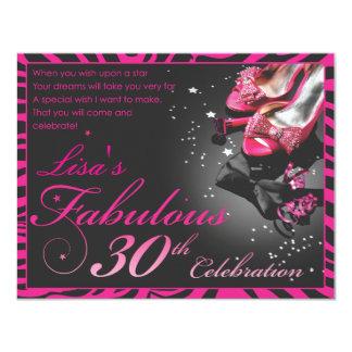 Fabulous 30th! 11 cm x 14 cm invitation card