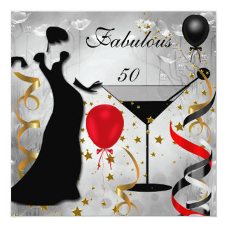 Fabulous 50 50th Birthday Party Deco Lady Red 13 Cm X 13 Cm Square Invitation Card