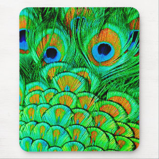 Fake Peacock Feathers Abstract Nature Pattern Mouse Pad