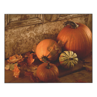 Fall Harvest/ Pumpkins And Gourds At The Door