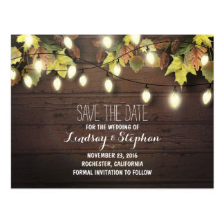 fall leaves & string lights save the date postcard