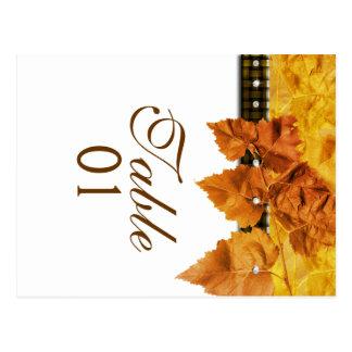 """Fall leaves weave diamond """"table number"""" postcard"""