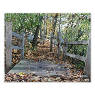 Falling into Place - Autumn Wooden Bridge Picture Art Photo
