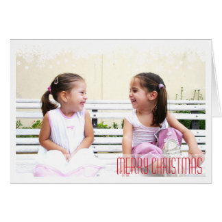 Falling snow flakes white border holiday photo greeting card