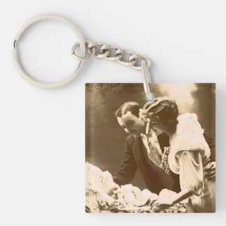 Family in the Past Single-Sided Square Acrylic Key Ring