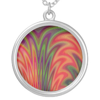 Fan of Colors Abstract Round Pendant Necklace