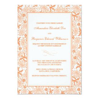 Fancy Floral Tangerine Wedding Invitation