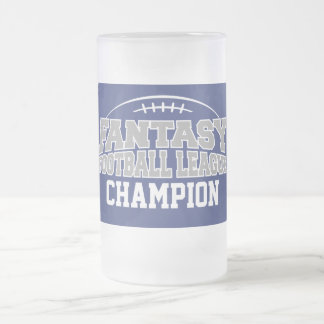 Fantasy Football Champion - Blue and Silver Gray Frosted Glass Mug