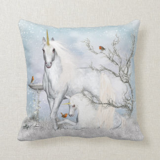 Fantasy Winter Unicorn Throw Pillow - Cussion Cushion