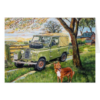 """""""FARM"""" Greetings Card With Land Rover Scene."""