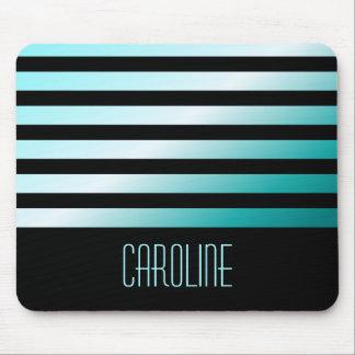 Fashionable aqua blue stripes black personalized mouse pad