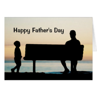 Father and Son at Sunset Photo Unique Father's Day Greeting Card
