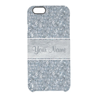 Faux Blue Sequins Glitter Silver Foil Clear iPhone 6/6S Case