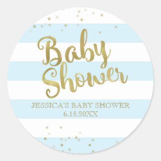 Faux Gold Foil Blue Stripes Baby Shower Boy Favor Round Sticker