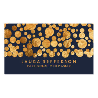 Faux Gold Foil Confetti Navy Vintage Pack Of Standard Business Cards