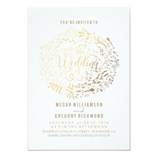 Faux Gold Foil Floral Bouquet Wedding 13 Cm X 18 Cm Invitation Card