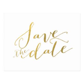 Faux Gold Foil Save the Date Postcard