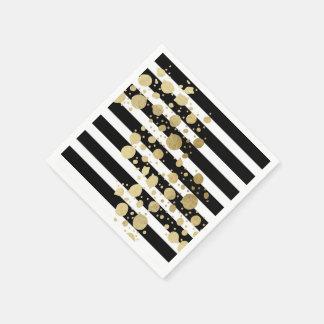 Faux Gold Paint Splatter on Black & White Stripes Paper Serviettes