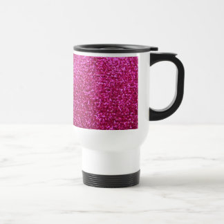 Faux Hot Pink Glitter Stainless Steel Travel Mug