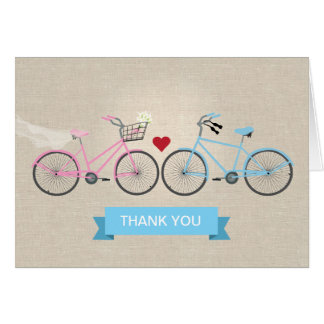 Faux Linen Bicycles Wedding Thank You Note Card