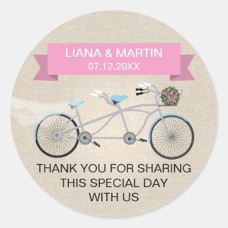 Faux Linen Pink Tandem Bicycle Wedding Round Sticker