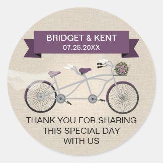 Faux Linen Plum Tandem Bicycle Wedding Round Sticker