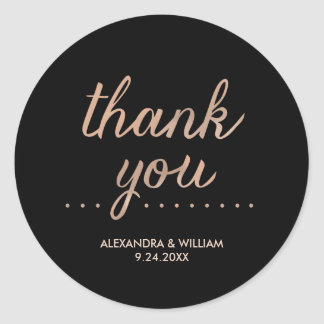 Faux Rose Gold and Black Dotted Wedding Thank You Round Sticker