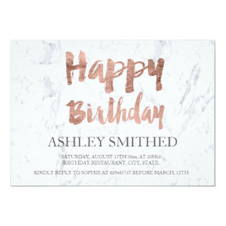 Faux rose gold typography marble birthday party 13 cm x 18 cm invitation card
