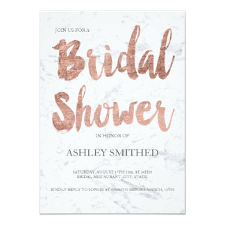 Faux rose gold typography marble bridal shower 13 cm x 18 cm invitation card