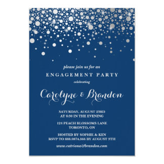 Faux Silver Foil Confetti | Navy Engagement Party 13 Cm X 18 Cm Invitation Card