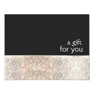 FAUX Silver Sequins Black Salon Gift Certificate 11 Cm X 14 Cm Invitation Card