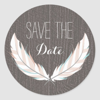 Feathers + Barn Wood Save The Date Sticker
