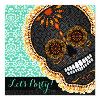 Feliz Muertos Tilted Orange Sugar Skull on Teal 13 Cm X 13 Cm Square Invitation Card