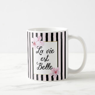 Feminine French Pink Blossoms and Black Stripes Basic White Mug