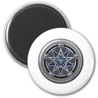 Feminine Silver Pagan Pentacle 6 Cm Round Magnet