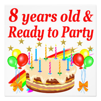 FESTIVE 8 YRS OLD AND READY TO PARTY BIRTHDAY CAKE PHOTO ART
