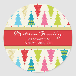FESTIVE ADDRESS LABELS :: :: patternedxmastree 2 Round Sticker