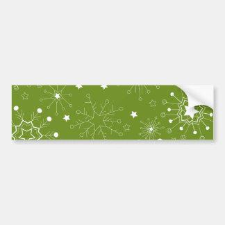 Festive Green Holiday Snowflakes Bumper Sticker