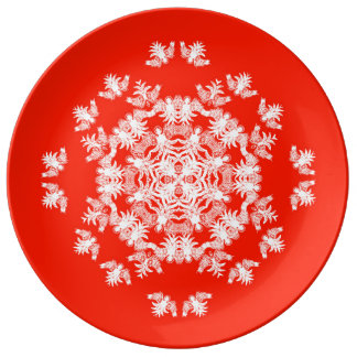 Festive Red Angel Snowflake Decorative Plate Porcelain Plates