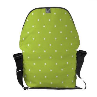 Fifties Style Tender Shoots Green Polka Dot Courier Bag