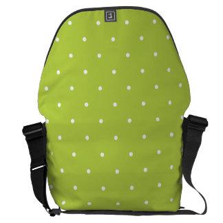 Fifties Style Tender Shoots Green Polka Dot Messenger Bags