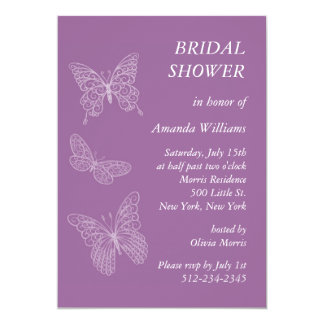 Filigree Butterfly Bridal Shower (purple) 13 Cm X 18 Cm Invitation Card