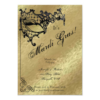 Filigree Mask on Gold Mardi Gras Party 13 Cm X 18 Cm Invitation Card