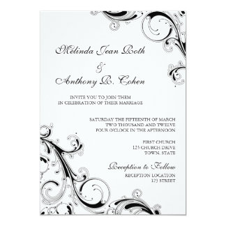Filigree Swirl Black w/White 5x7 Wedding 13 Cm X 18 Cm Invitation Card