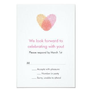 Fingerprint Heart Response Card 9 Cm X 13 Cm Invitation Card